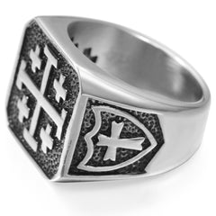 Jerusalem Cross Ring Stainless Steel