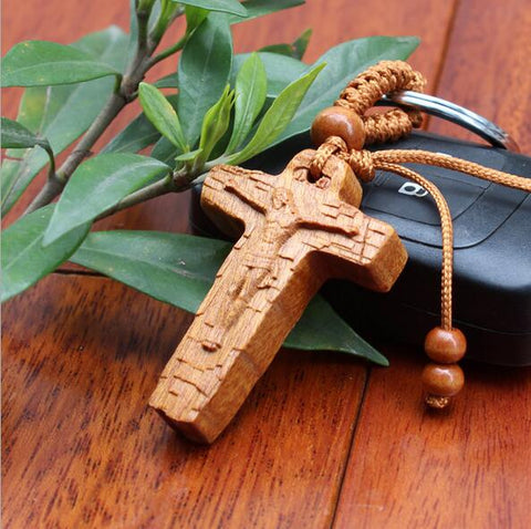 Wood Cross Jesus Key Car Handbag