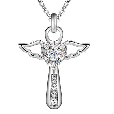 Angel Heart Wing Silver Pendant Necklace