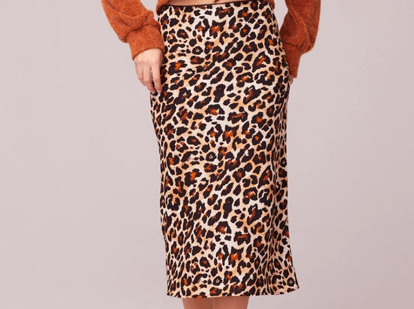 WILD THING LEOPARD PRINT WASHED SATIN SLIP SKIRT