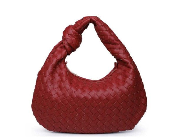 CHARLENE WOVEN VEGAN LEATHER HOBO BAG