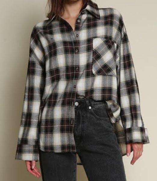 LADIES WOVEN PLAID SHIRT