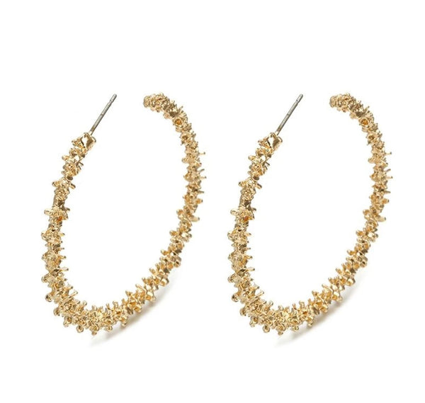 Gold Nugget Hoop Earrings