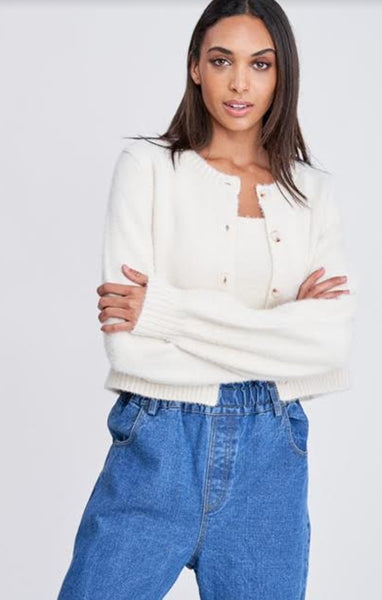 LONG SLV FRONT BUTTON SWEATER TOP