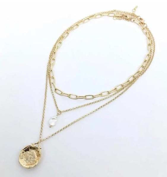 Three Layered Necklace with Gold Coin Pendant