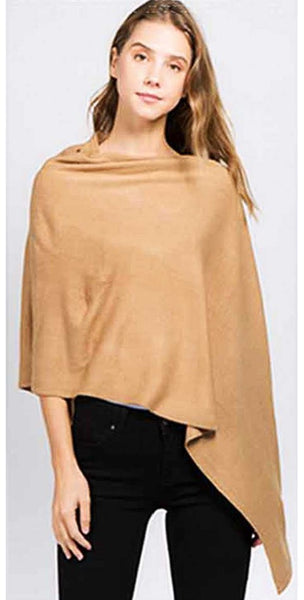 CHIC STYLISH CHENILLE SOLID COLOR PONCHO