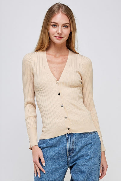 KNIT RIB BUTTON-DOWN SWEATER TOP