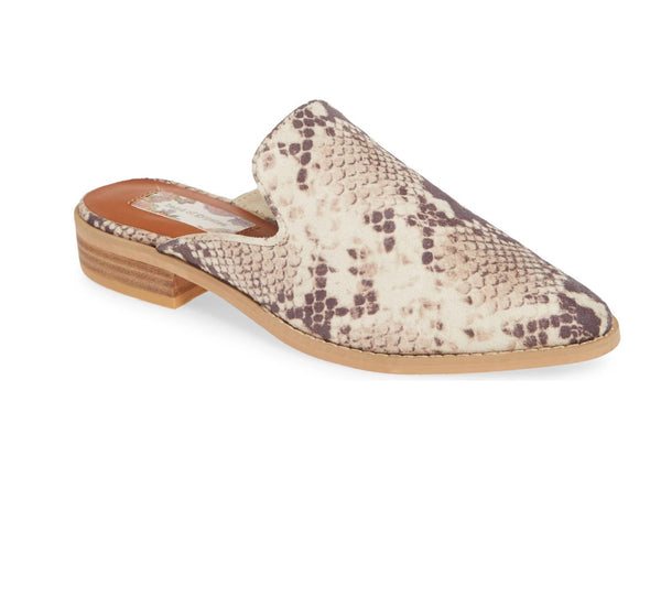 SKIPPER SNAKE PRINT EMBOSSED LOAFER MULE