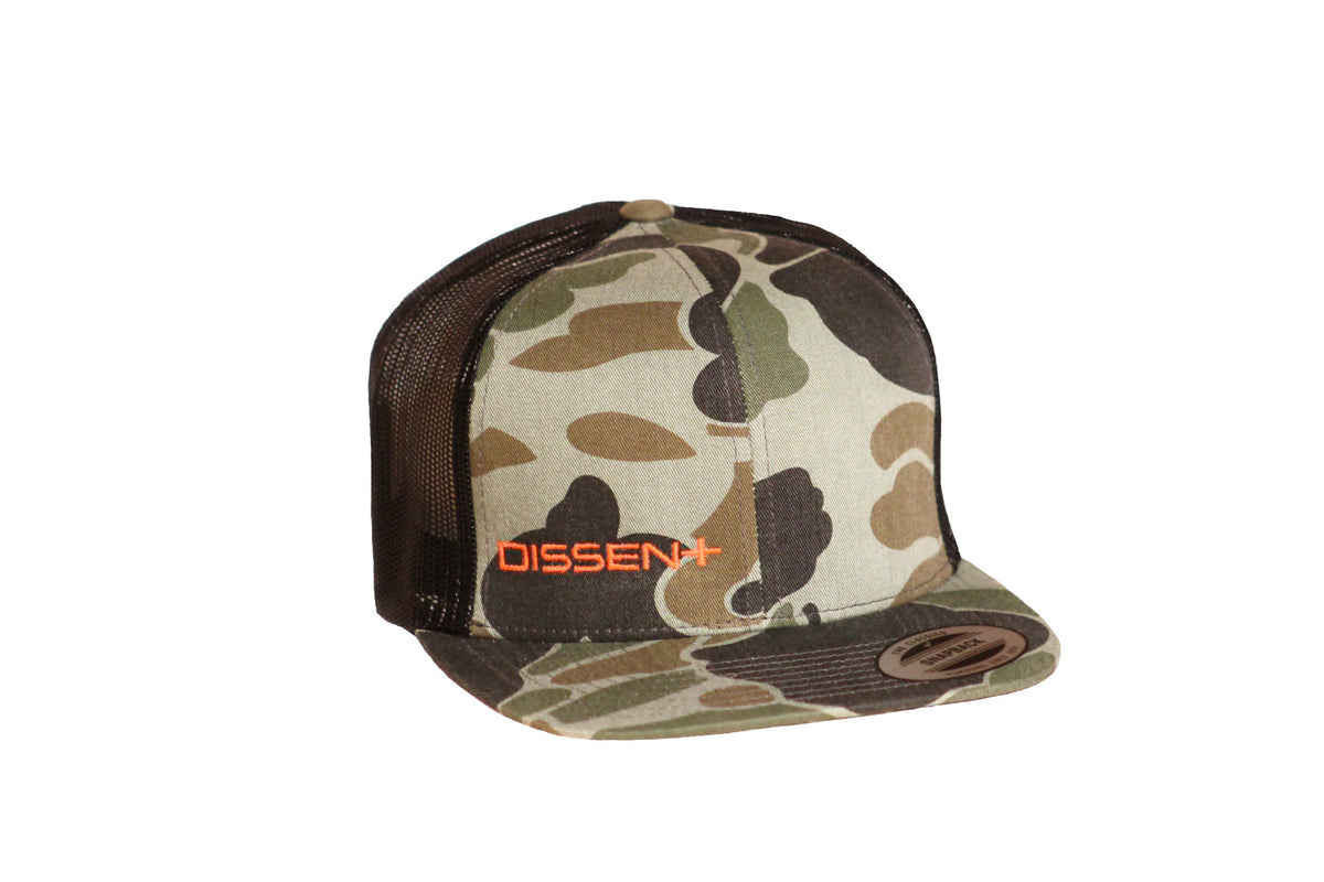 Dissent Labs Team Trucker Hat - Camo // Orange