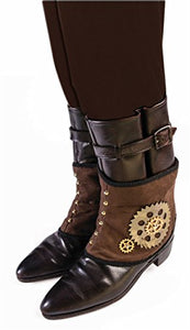 Steampunk Mechanical Gear Brown Spats