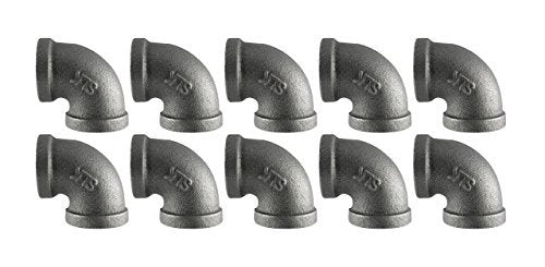"Black Cast Pipe Fitting, Elbow 90, 1/2"", 10-Pack"