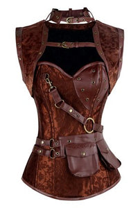 Steampunk Bustiers Corset with Jacket and Belt