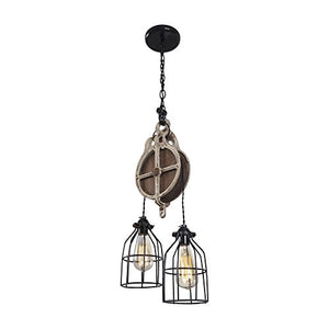 Wood and Iron Barn Pulley Light