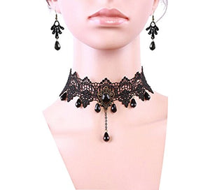 Black Lace Gothic Choker & Earrings Set
