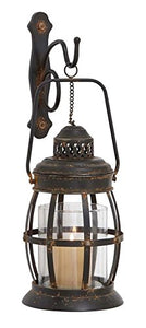 Rustic Bronze Metal Cage-Style Candle Sconce