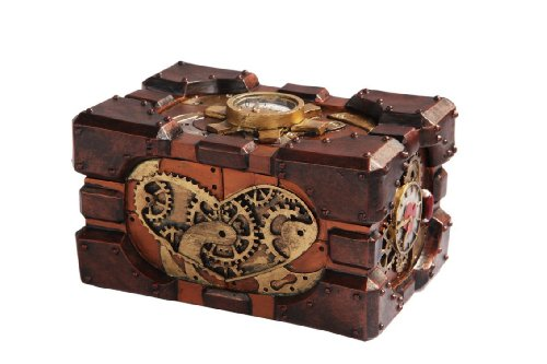 Steampunk Themed Pressure Gauge Box Statue