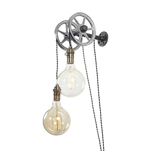 Iron Pipe Industrial Wall Pulley Light