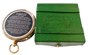 Robert Frost Poem - Engraved Antiquated Finish Brass Compass with Case