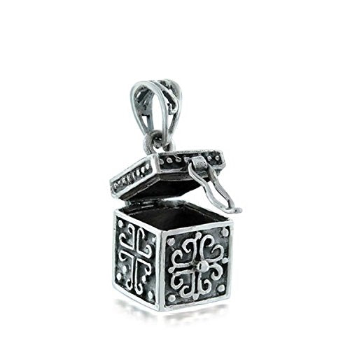 Antiqued Poison Prayer Box Cross Locket
