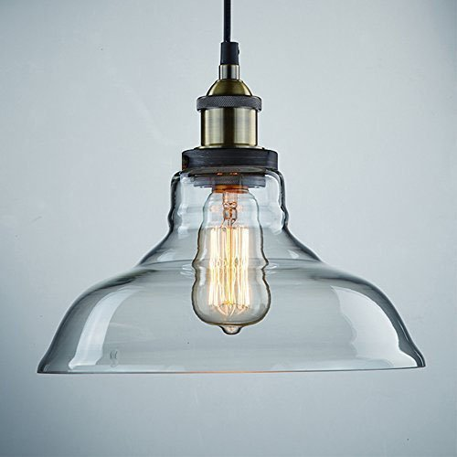 CLAXY Ecopower Industrial Edison Vintage Style 1-Light Pendant Glass Hanging Light