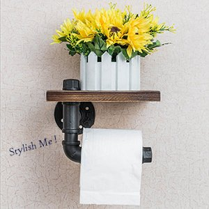 Industrial Toilet Paper Holder with Wooden Shelf