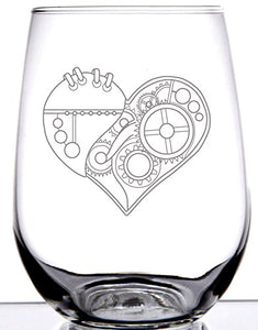 Steampunk Heart on stemless wineglass