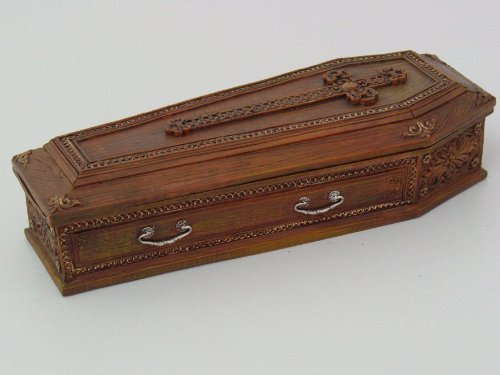 Cross Embellished Coffin Jewelry/Trinket Box Figurine