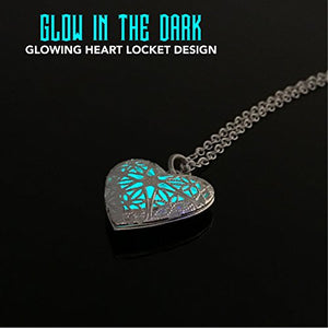Magical Fairy Glow in Dark Heart Locket Pendant Necklace for Teen Girl