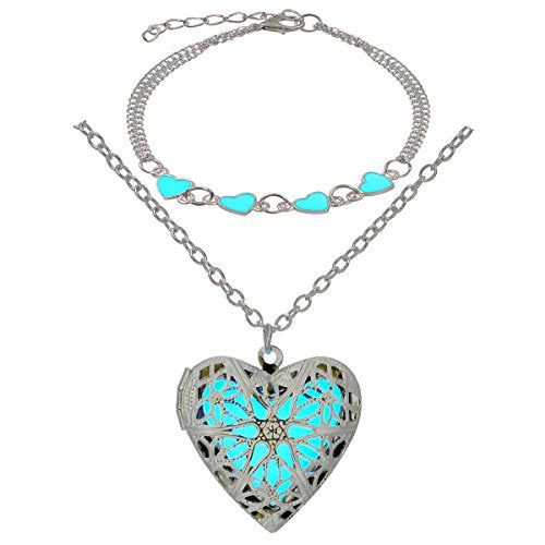 Steampunk Magical Fairy Glow in The Dark Heart Shape Necklace