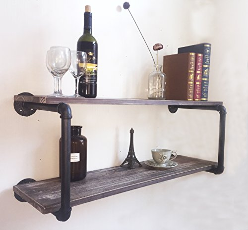 Industrial Rustic Wood Wall Mounted Iron Pipe Shelf