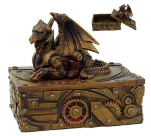 PTC 5 Inch Steampunk Dragon Topped Mechanical Box Statue Figurine