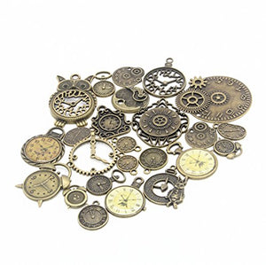 24pcs Mixed Antique Bronze Steampunk Gears Clock
