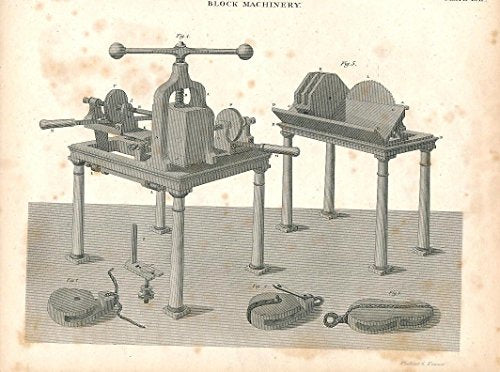Block & tackle production c.1820 fine antique engraved engineering print