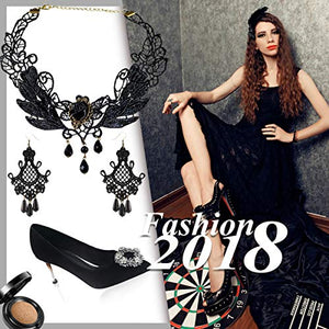 Black Lace Necklace & Earrings Set