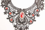 Black Lace Gothic Red Pendant & Earrings Set