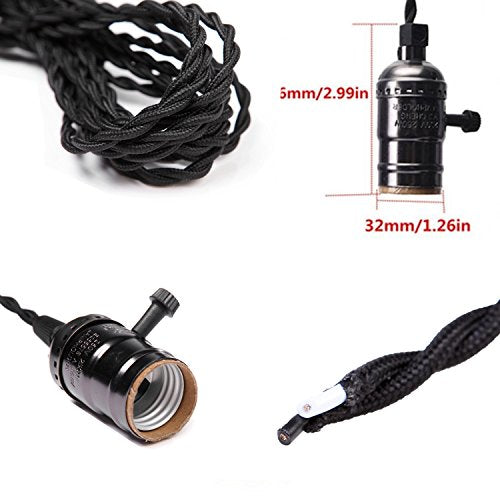 Pendant Light Lamp Cord Cable 14.8FT(4.5M) with E26 E27 Socket