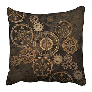 Steampunk Throw Pillow Cover