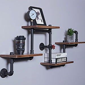Industrial Rustic Wood Ladder Pipe Wall Shelf