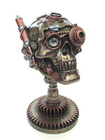 Steampunk Skull on Gear Stand Statue