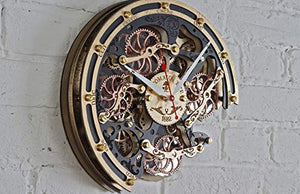 Automaton Bite Black Gold HANDCRAFTED moving gears wall clock