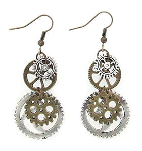 "Antique-Bronze-Tone ""Gear"" Earrings"