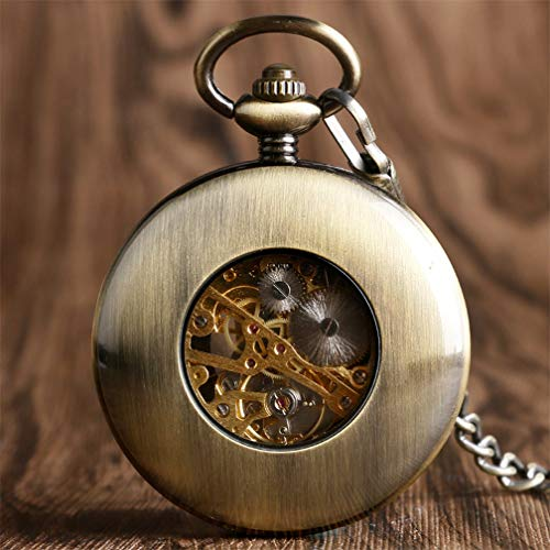 Vintage Bronze Wooden Mechanical Pocket Watch