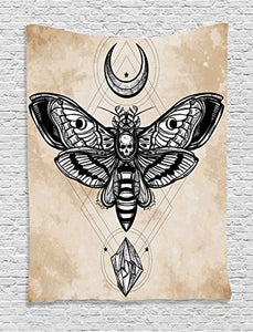 Dead Head Hawk Moth with Luna and Stone Spiritual Magic Skull Illustration
