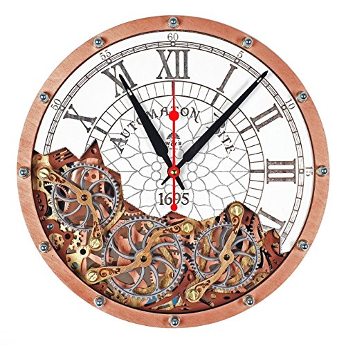 Automaton Bite 1695 White & Copper HANDCRAFTED moving gears wall clock