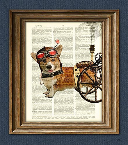 Admiral Wheels the Steampunk Corgi dog illustration