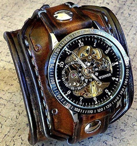 Steampunk Leather Wrist Watch