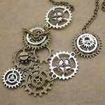 Vintage Gold & Silver Gears Necklace