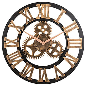 Vintage Wooden 23-Inch Noiseless Gear Wall Clock
