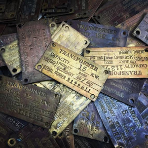 Vintage brass ID plate industrial tag