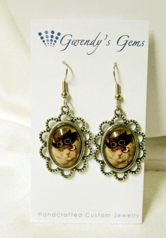Steampunk kitty earrings